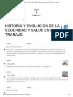 LINEA DEL TIEMPO HISTORIA Y EVOLUCIÓN DE LA SEGURIDAD Y SALUD EN EL TRABAJO