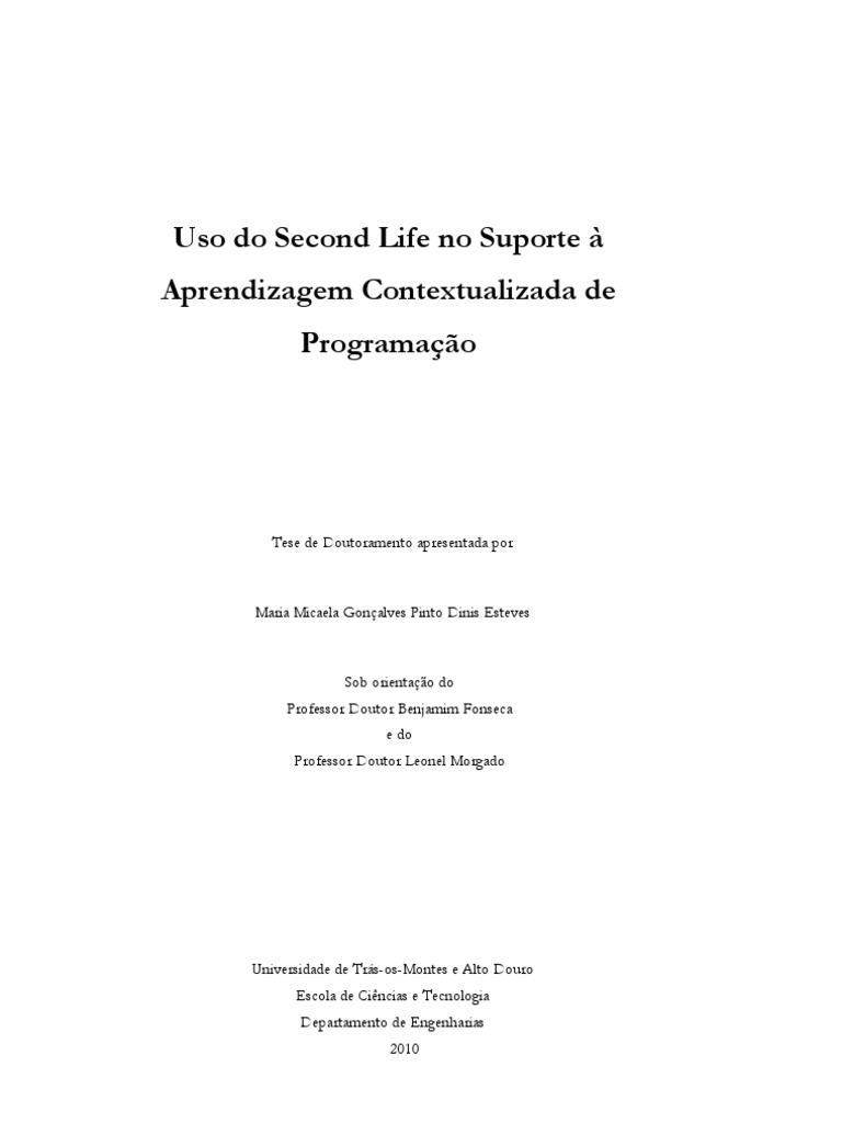 Uso do second life no suporte aprendizagem contextualizada de uso do second life no suporte aprendizagem contextualizada de programao fandeluxe Images