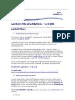 Lambeth Arts Email Bulletin