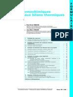 Données Thermochimiques Nécessaires Aux Bilans Thermiques