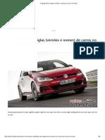 O Significado de Siglas (Versões e Nomes) de Carros No Brasil