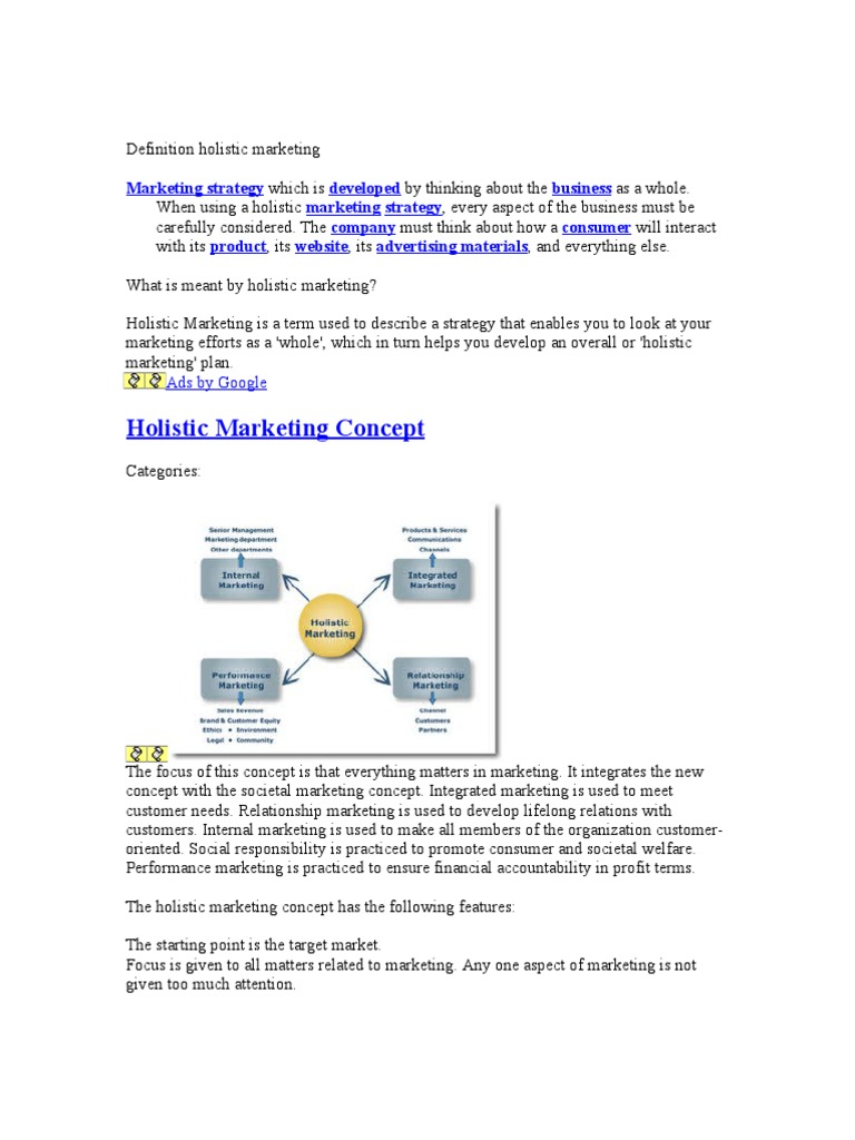 holistic marketing Free essay: holistic marketing concept is based on development, design, and implementation of marketing programs, processes, and activities that recognize.