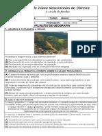 AVALIAÇÃO DE GEOGRAFIA 4º ANO - 3º BIMESTRE