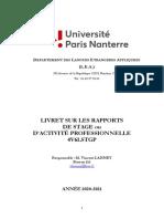 Livret Du Rapport de Stage Et d'Activité 2020-2021