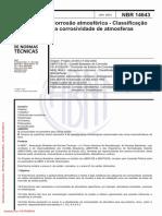 NBR14643 - Corrosão atmosférica - Classificação da corrosividade de atmosferas