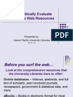 Web Site Evaluation Tutorial