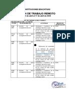 Plan de Trabajo Remoto Del 13 Al 17 de Abril