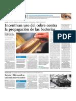 Incentivan uso del cobre contra la propagación de las bacterias