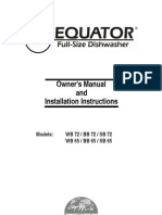 Dishwasher Installation Instructions (Equator SB-72) (151 S Mansfiled)