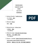 Vincent Vallee Recipe Book
