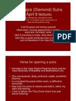 Vajra (Diamond) Sutra April 8, 2011 Lecture