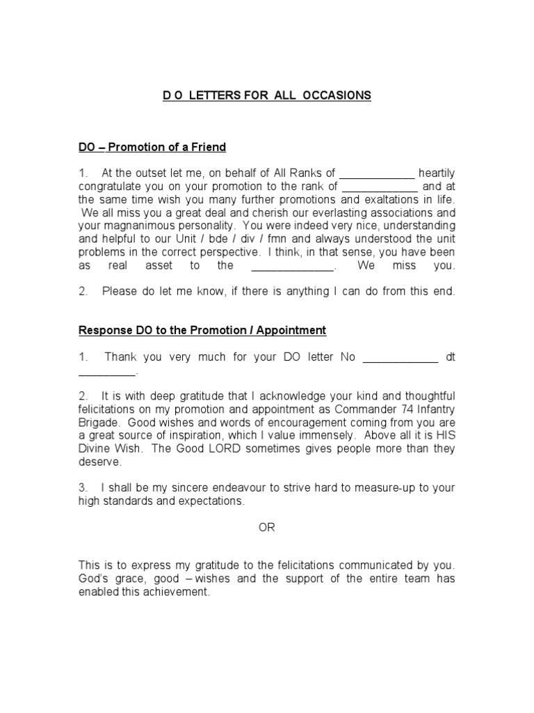 Demi Official Letter formats   Gratitude   Regiment