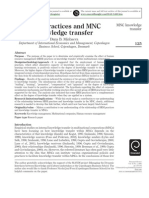 Dana Minbaeva. 2005. HRM practices and MNC knowledge Transfer,  Personnel Review, 34(1) pp125-144