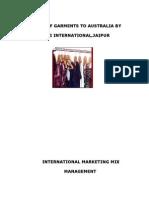 EXPORT OF GARMENTS TO AUSTRALIA (International Marketing Mix