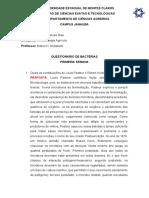 QUESTIONÁRIO DE BACTÉRIA 1
