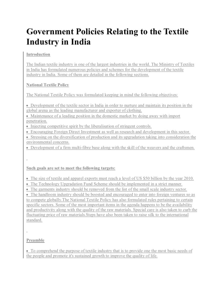 Government Policies Relating to the Textile Industry in