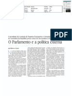 O Parlamento e a política externa (versão curta, edição em papel) - artigo EXPRESSO, 9-abr-2011