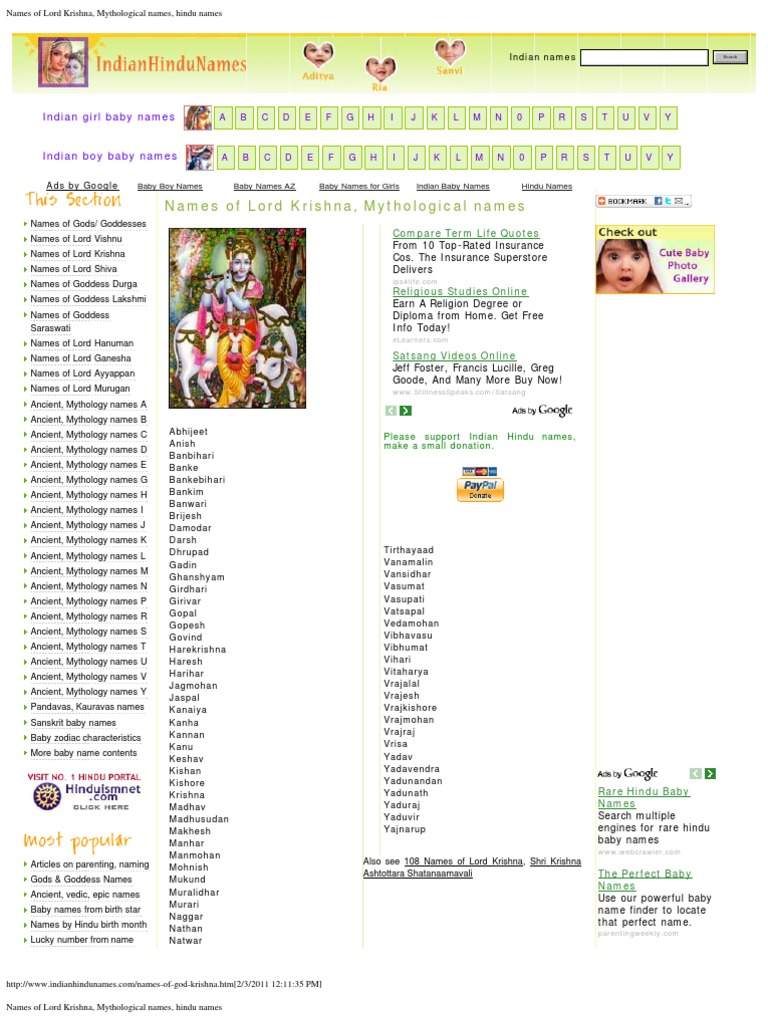 Names of Lord Krishna, Mythological names, hindu names