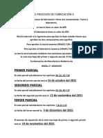 información de procesos de fabricación II
