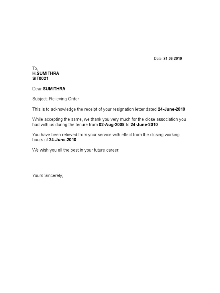 FORMAT OF RELIEVING LETTER – Letter of Release Template
