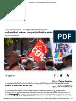 taux de syndicalisation en France est de 11%