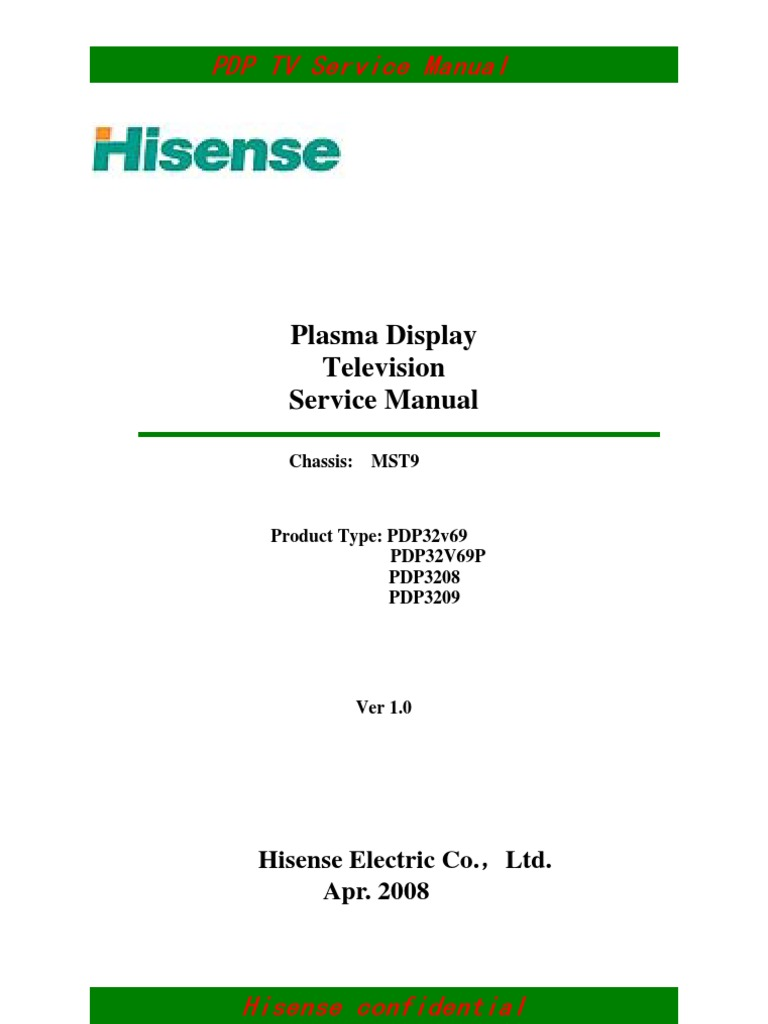 Hisense Pdp32xx Service Manual | Television | Film And Video