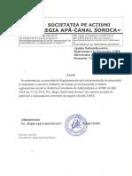 Solicitarea S a Regia Apă Canal Soroca de Aprobarea a Tarifelor La Serviciul Public de Alimentare Cu Apă Și La Serviciul Public de Canalizare