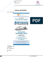 Amnesie d'autore all'Uniurb - Il Mascalzone.it, 20 settembre 2021