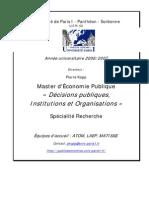 Décisions publiques, Institutions et Organisations
