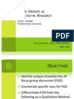 Focus Groups as Qualitative research