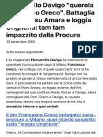 "Piercamillo Davigo ""querela Francesco Greco"". Battaglia campale su Amara e loggia Ungheria"