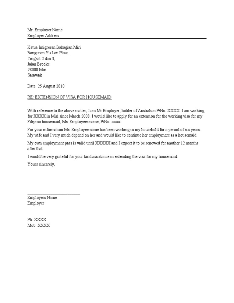 example letter for maid visa extension malaysia