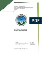 DIFERENCIAS INDIVIDUALES, ESTILOS DE APRENDIZAJE