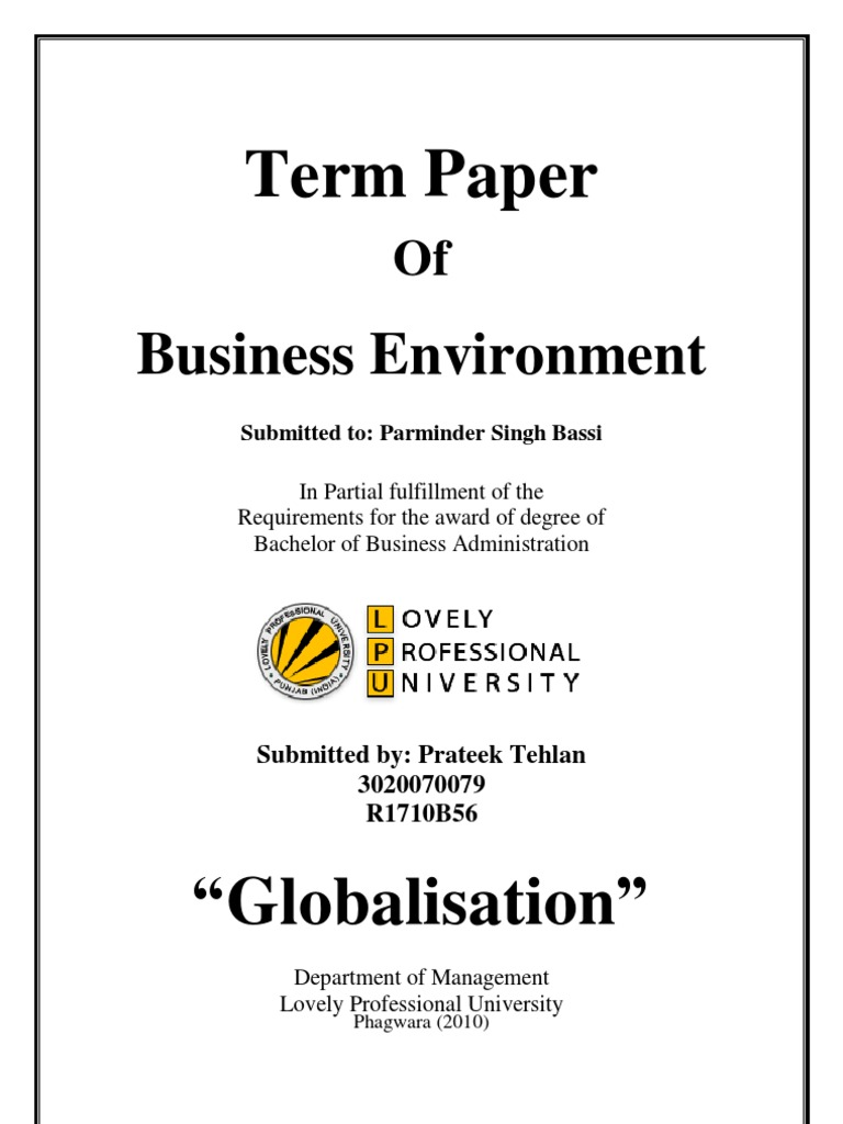 term papers on globalization Studymode - premium and free essays, term papers  globalization history and definition the term 'globalization  globalization refers to the increasing.