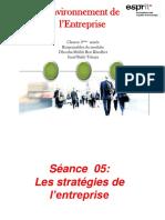 Séance  5 Les stratégies de l'entreprise (1)