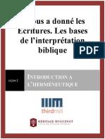 IlNousADonnéLesÉcritures.LesBasesDeL'interprétationBiblique.Leçon1.Manuscript.Francais