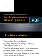 Specific phenomena in consumers' behavior - Examples