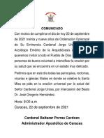 Comunicado Arquidiócesis de Caracas