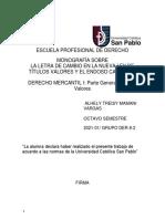 Monografia sobre La Letra de Cambio en la Nueva Ley de Títulos y el Endoso Bancario