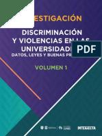 Informe Discriminacion y Violencias en Las Universidades Datos Leyes y Buenas Practicas Volumen i