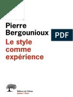 Pierre Bergounioux - Le Style Comme Experience