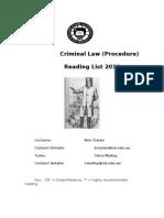 crim A procedure reading list  2010