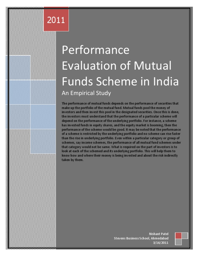 ratios to evaluate mutual funds performance A comparative study on performance evaluation of pakistani mutual this paper evaluate and compare the performance of to 2011mutual funds' performance.
