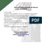 Relação de documentos para avaliacao PRONAMPE