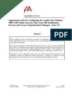 Avaya CM SES - M1K Configuration Guide