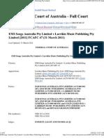 EMI Songs Australia Pty Limited v Larrikin Music Publishing Pty Limited [2011] FCAFC 47 (31 March 2011)