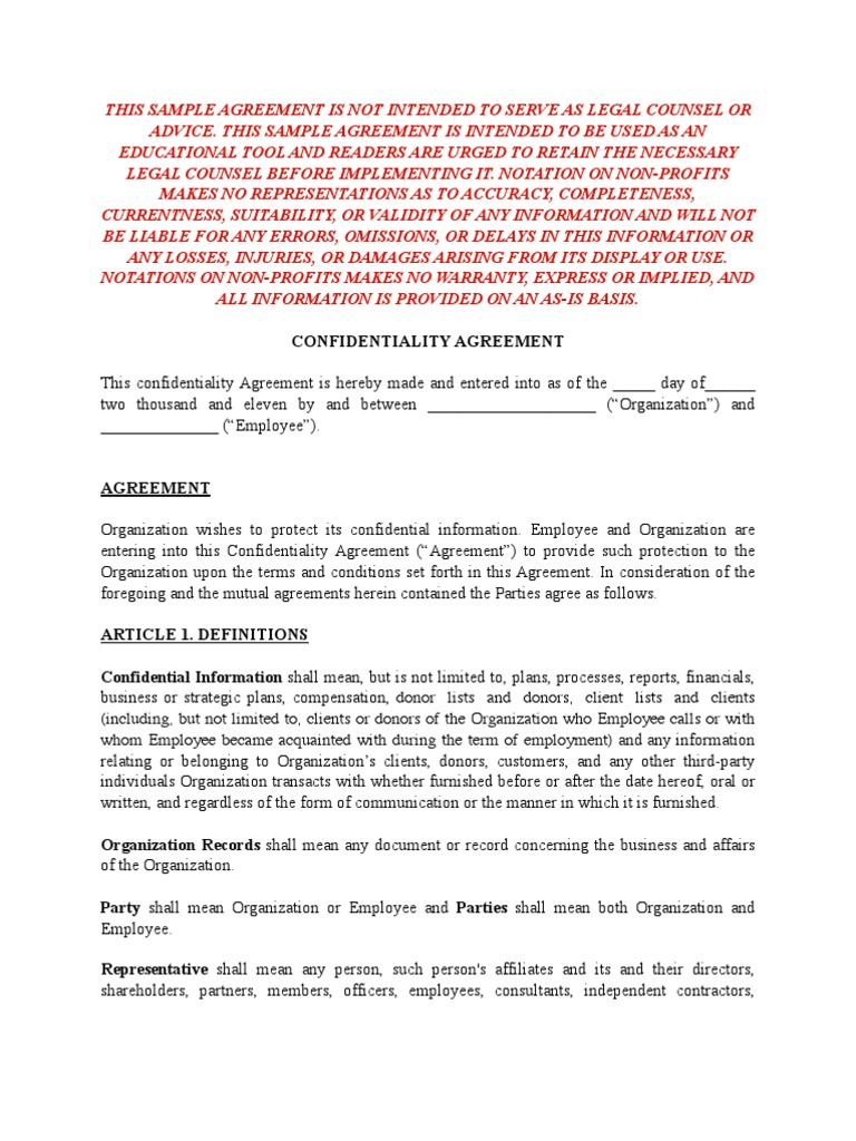 Sample Confidentiality Agreement For Non Profits Confidentiality