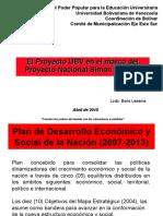 relación proyecto ubv y proyecto nacional simon bolivar