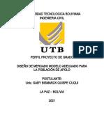 Perfil Proyecto de Grado  GARY QUISPE CUQUI