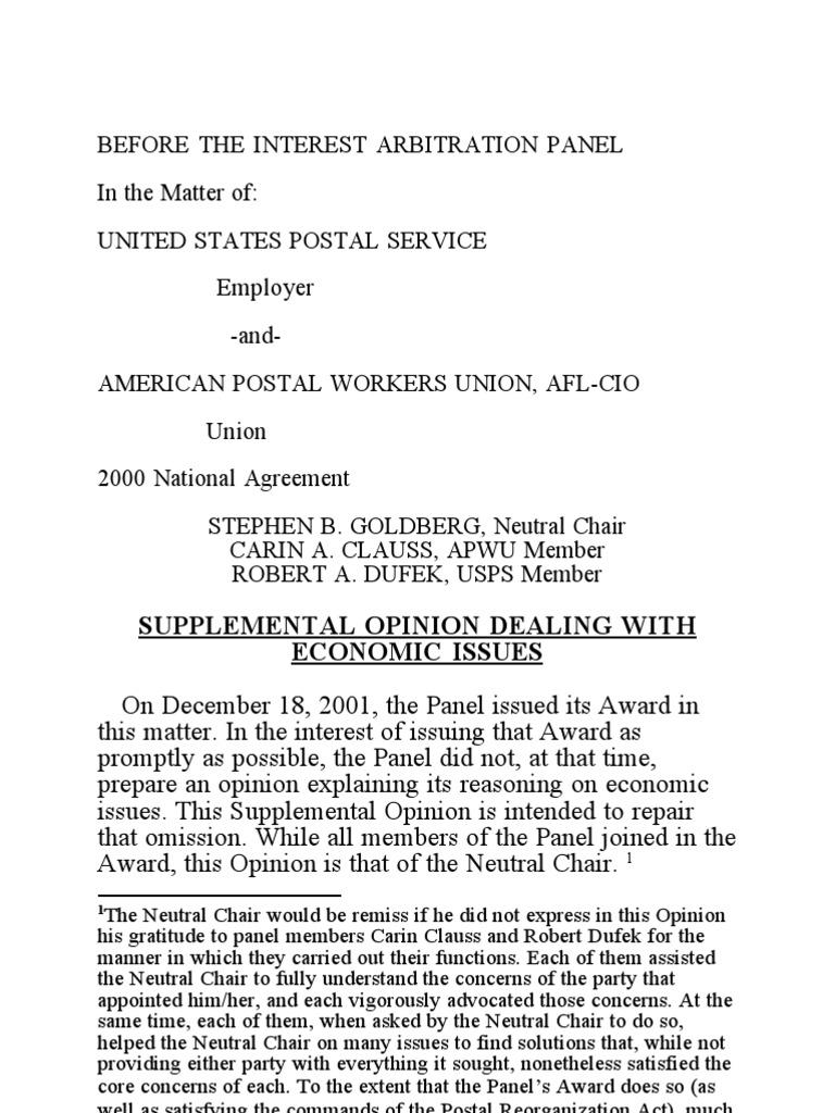 Goldberg Award 2001 Usps Apwu Arbitration United States Postal